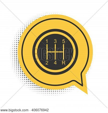 Black Gear Shifter Icon Isolated On White Background. Transmission Icon. Yellow Speech Bubble Symbol