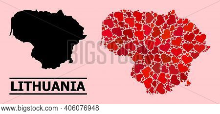 Love Collage And Solid Map Of Lithuania On A Pink Background. Collage Map Of Lithuania Composed With