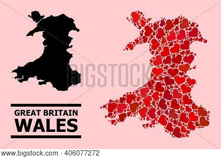 Love Mosaic And Solid Map Of Wales On A Pink Background. Mosaic Map Of Wales Is Designed With Red Lo