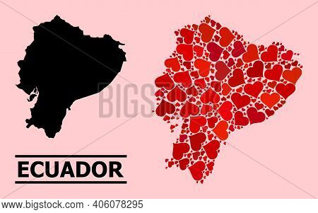 Love Collage And Solid Map Of Ecuador On A Pink Background. Collage Map Of Ecuador Designed With Red