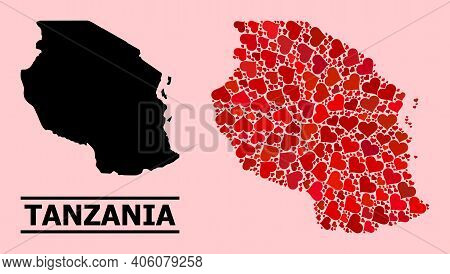Love Mosaic And Solid Map Of Tanzania On A Pink Background. Collage Map Of Tanzania Is Designed With