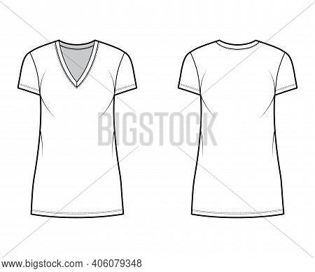T-shirt Dress Technical Fashion Illustration With V-neck, Short Sleeves, Mini Length, Oversized Body