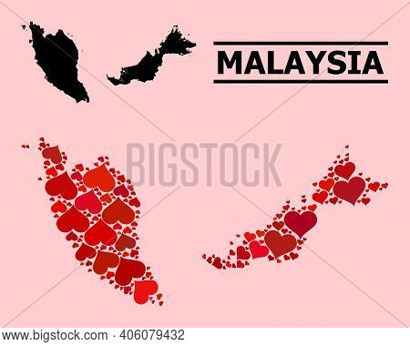 Love Pattern And Solid Map Of Malaysia On A Pink Background. Collage Map Of Malaysia Created From Re