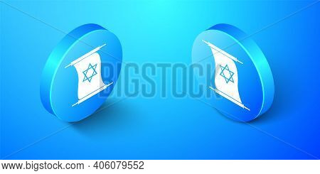 Isometric Torah Scroll Icon Isolated On Blue Background. Jewish Torah In Expanded Form. Torah Book.