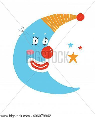 Cute Nursery Vector Illustration With Blue New Moon And Stars Isolated On A White Background. Funny