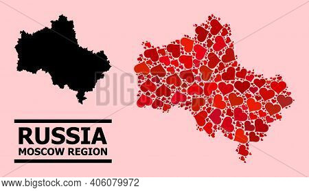 Love Collage And Solid Map Of Moscow Region On A Pink Background. Collage Map Of Moscow Region Forme