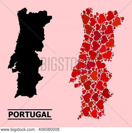 Love Pattern And Solid Map Of Portugal On A Pink Background. Mosaic Map Of Portugal Formed With Red