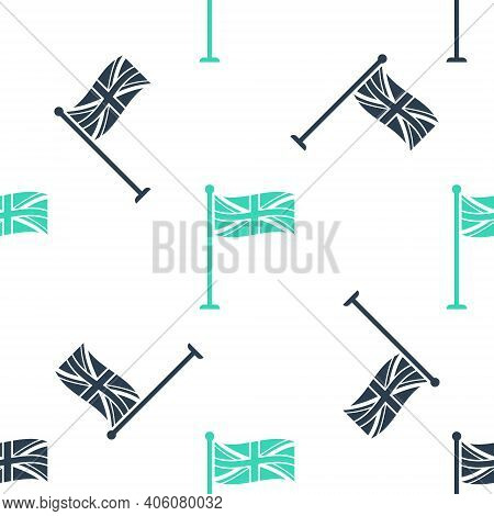 Green Flag Of Great Britain On Flagpole Icon Isolated Seamless Pattern On White Background. Uk Flag