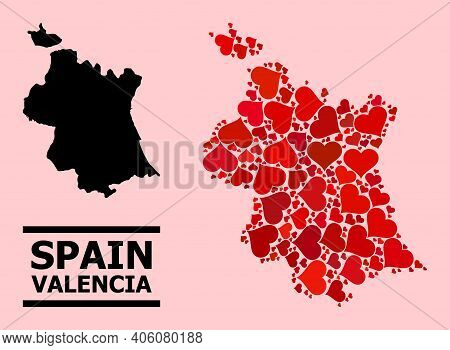 Love Pattern And Solid Map Of Valencia Province On A Pink Background. Mosaic Map Of Valencia Provinc