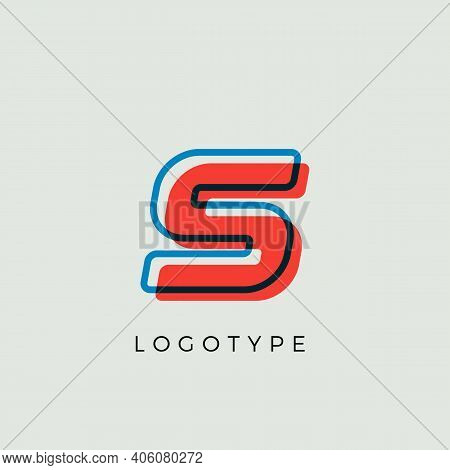 Stunning Letter S With 3d Color Contour, Minimalist Letter Graphic For Modern Comic Book Logo, Carto
