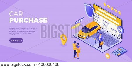 Online Buy Car Distance Technology Sale Purchase Car Auto Rental Carsharing Landing Page Advertising
