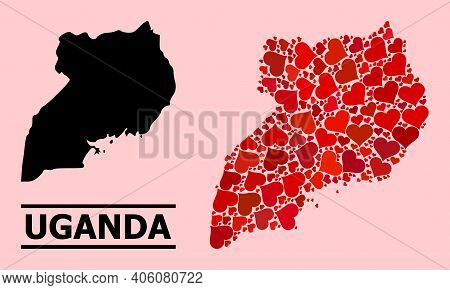 Love Mosaic And Solid Map Of Uganda On A Pink Background. Mosaic Map Of Uganda Is Composed With Red