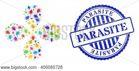 Parasite Colorful Centrifugal Flower Cluster, And Blue Round Parasite Rough Stamp. Object Centrifuga