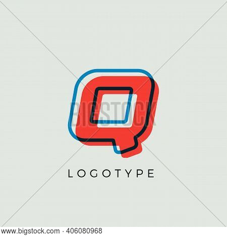 Stunning Letter Q With 3d Color Contour, Minimalist Letter Graphic For Modern Comic Book Logo, Carto