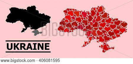 Love Mosaic And Solid Map Of Ukraine On A Pink Background. Mosaic Map Of Ukraine Is Designed From Re