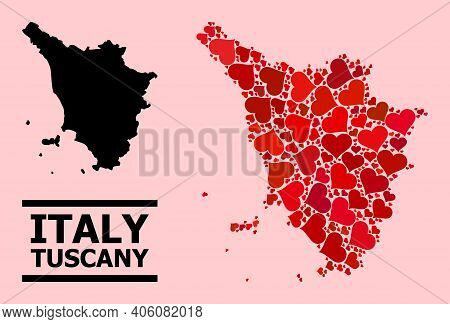 Love Mosaic And Solid Map Of Tuscany Region On A Pink Background. Collage Map Of Tuscany Region Is C