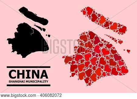 Love Mosaic And Solid Map Of Shanghai Municipality On A Pink Background. Mosaic Map Of Shanghai Muni