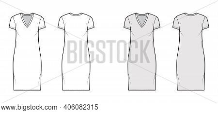 T-shirt Dress Technical Fashion Illustration With V-neck, Short Sleeves, Knee Length, Oversized Body