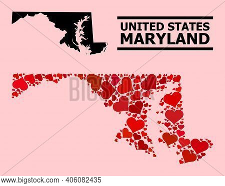 Love Mosaic And Solid Map Of Maryland State On A Pink Background. Collage Map Of Maryland State Is C