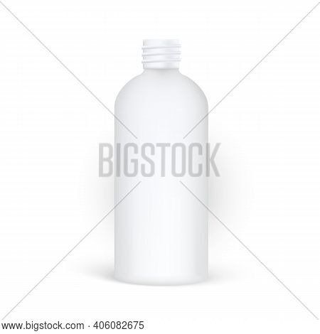 Opened Plastic Cosmetic Bottle Mockup With No Lid And Carving. Realistic Cosmetic Mockup.