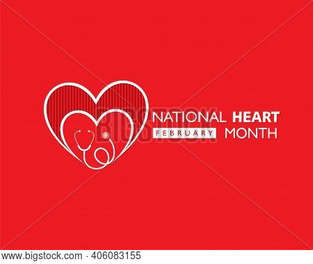 Vector Illustration Of National Heart Month Observed In February