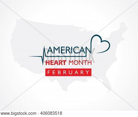 Vector Illustration Of National American Heart Month Observed In February