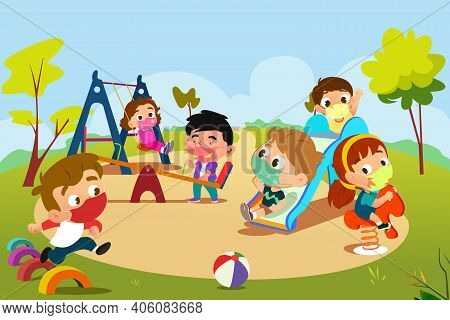 A Vector Illustration Of Children Playing In Playground During Pandemic
