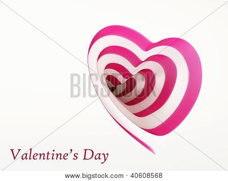 Romantic Spiral Striped Heart On White.