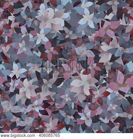 Seamless Pattern, Repeating Background, Tile Floral Ornament With Textured Leaves, Botanical Repeati