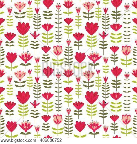 Floating Floral Foliage Folk Style Vector Seamless Pattern. Stylized Garden Flower Motif Print On Wh
