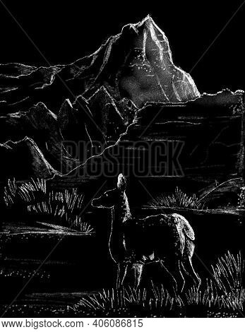 Chalk Or Pastel Art Drawing Illustration Of The Badlands National Park In South Dakota With Deer, Er