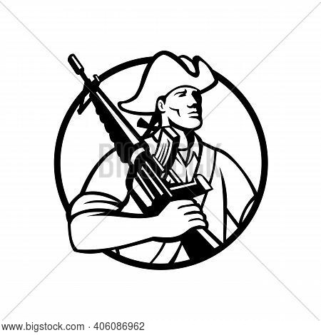 Mascot Illustration Of An American Patriot Revolutionary Solder With Assault Rifle On Shoulder Looki