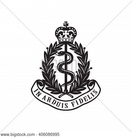 Illustration Of A Badge The Royal Army Medical Corps Or Ramc, A Specialist Corps In British Army Whi
