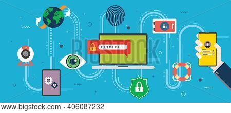 Privacy, Protection And Data Security In Internet. Technology And Digital Security, Identity Protect