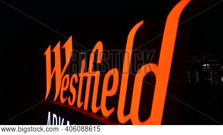 Warsaw, Poland. 1 February 2021. Sign Westfield. Company Signboard Westfield
