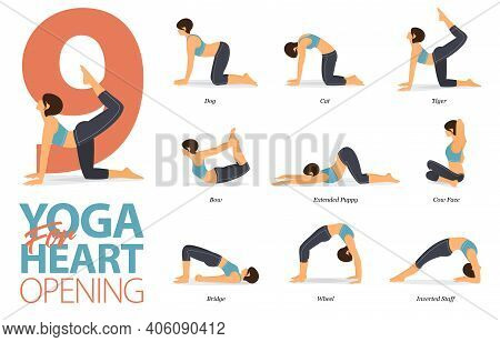 Infographic Of 9 Yoga Poses For Workout At Home In Concept Of Yoga For Heart Opening In Flat Design.
