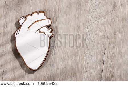 Sodium Bicarbonate In The Heart-shaped Bowl - Wood Background