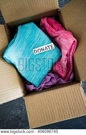 Box With Donate Label With Second-hand Items To Be Given Away, Charity Donation And Decluttering Ite