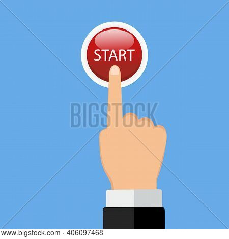 Illustration Of A Hand Of A Businessman In A Suit, Clicking On The Button That Triggers A Process On
