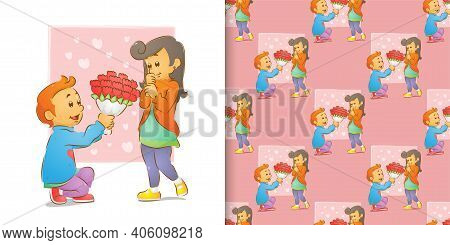 The Pattern Set Of The Of The Man Giving A Flowers And Kneeling Love With A Woman