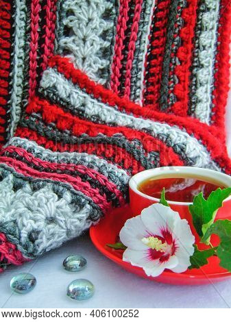 Crochet Knit Thick Red Yarn Hobby Background. Blanket Crochet Of Red Gray Colors Yarns. Knitting, Cr