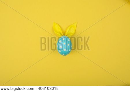 Egg With Paper Ears In The Shape Of An Easter Bunny. Happy Easter Concept Card Postaer Background