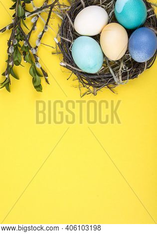 Colorful Background With Easter Eggs On Yellow Background. Happy Easter Concept. Can Be Used As Post