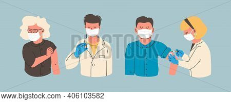 Vaccination Concept Characters - Doctor And Nurse Injecting Vaccine Injection. Vaccine Against Coron