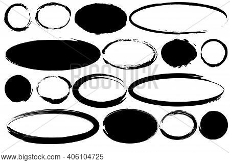 Modern Brush Ovals Circles. Ink Brush Stroke. Hand Drawn Illustration. Vector Drawing. Stock Image.