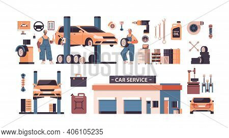 Set Car Service Elements Collection Automobile Check Up Maintenance Station Repair Shop Concept Isol