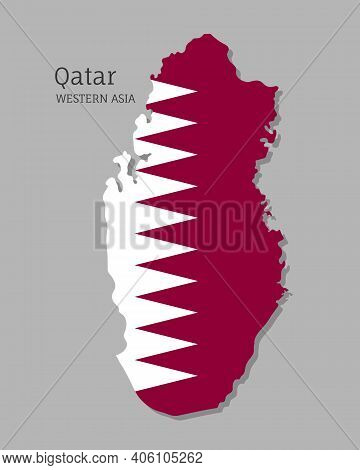 Map Of Qatar With National Flag. Highly Detailed Editable Map Of Qatar, Western Asia Country Territo