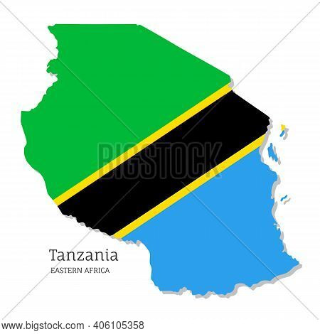 Map Of Tanzania With National Flag. Highly Detailed Editable Tanzanian Map Of Eastern Africa Country