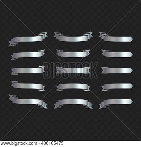 Set Of Silver Ribbon Banners On Transparent Background. Silver Ribbons Collection For Your Text. Vec