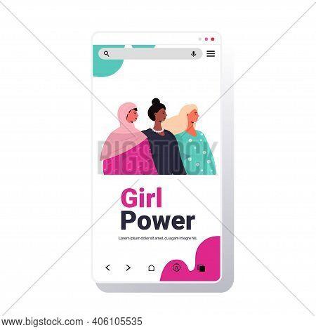 Mix Race Girls Standing Together Female Empowerment Movement Women Power Concept Smartphone Screen P